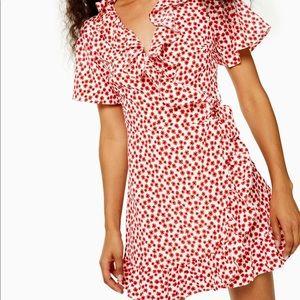 Topshop ruffle wrap dress